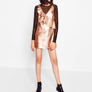NWT Zara rose gold ruffle dress faux leather